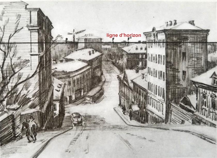 dessiner un paysage en perspective La rue qui descend,