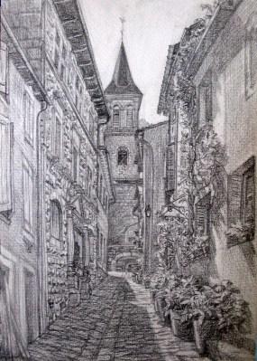 dessiner l'architecture en perspective. Rue à Florac