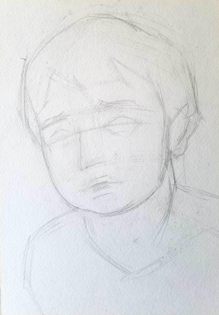 portrait d'un enfant. Etape 2