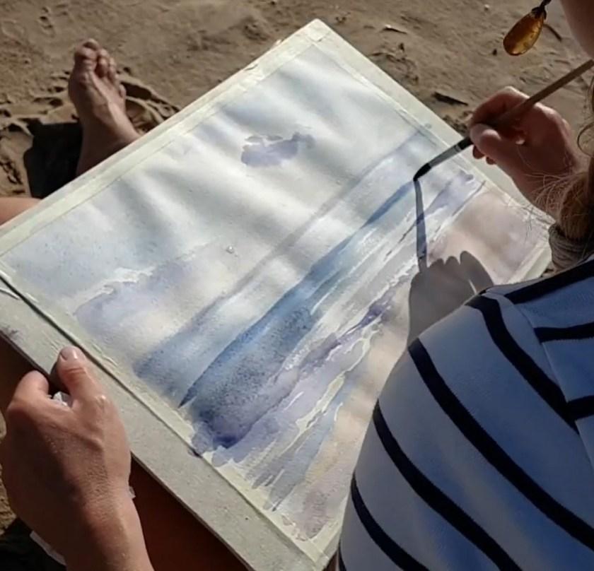 Comment peindre la mer. On rajoute la deuxième couche de peinture
