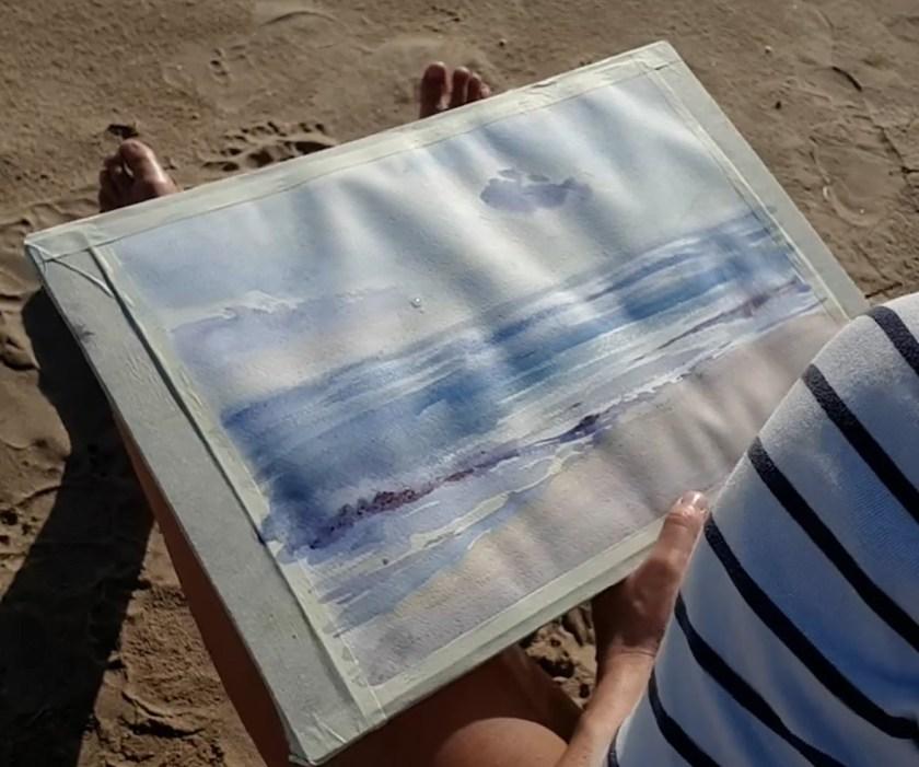 Peindre les vagues en aquarelle