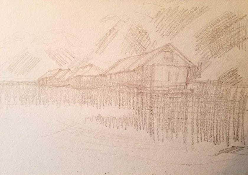 dessiner l'eau dans le paysage. Etape 2. On dessine en tonalité.