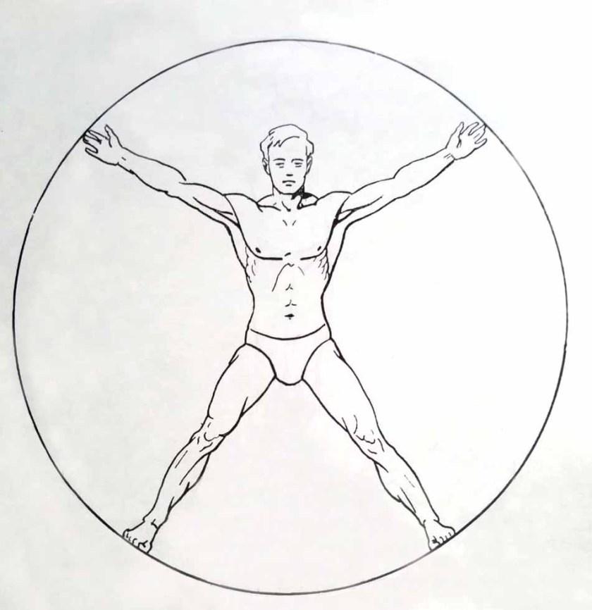 Les proportions du corps humain. Cercle.