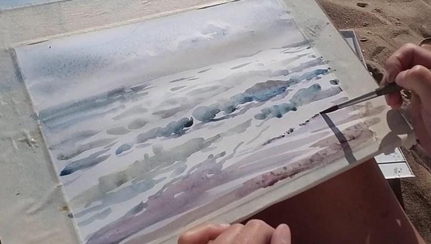 Comment peindre la mer en aquarelle en contre-jour