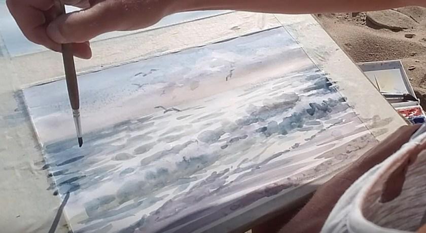Comment peindre la mer en aquarelle en contre jour