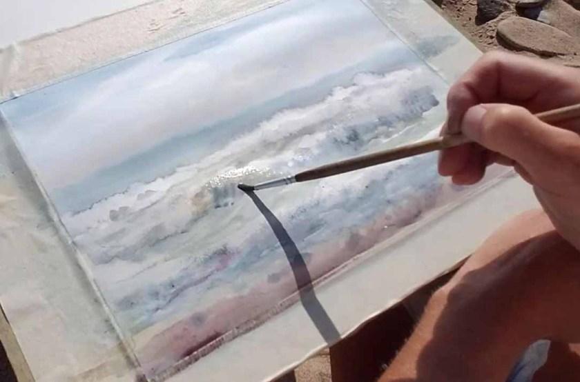 Comment peindre les vagues à l'aquarelle et rendre les vagues transparentes