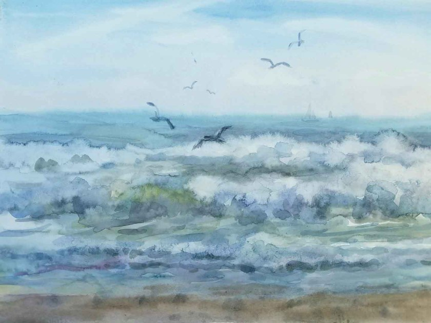 Comment peindre les vagues à l'aquarelle. Le tableau est términé