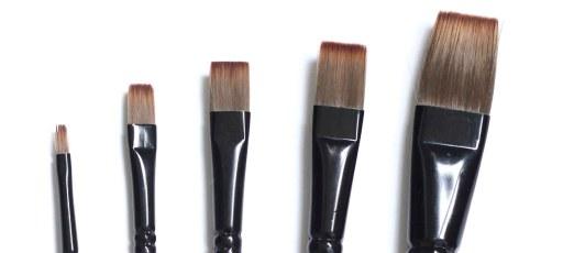 Pinceaux synthétiques plats pour peindre à l'huile