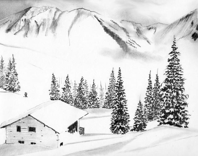 apprenez dessiner un paysage de neige apprenez a. Black Bedroom Furniture Sets. Home Design Ideas
