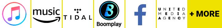 iTunes/Apple Music, Boomplay, Tidal, Amazon Music, Facebook, Rhapsody/Vivo Musica, +More