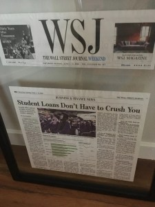 Print version of the Wall Street Journal story with quote from Justin Pritchard in frame