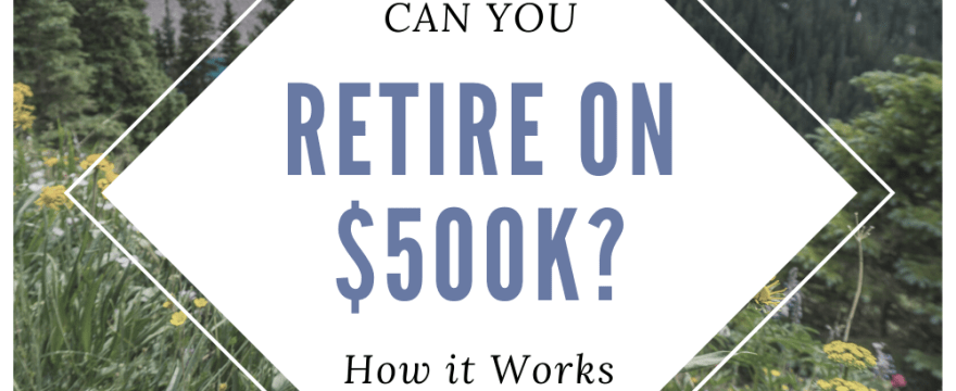 Three-part view of leisure and text about retiring with 500k in assets