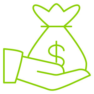 icon of hand holding bag with dollar sign