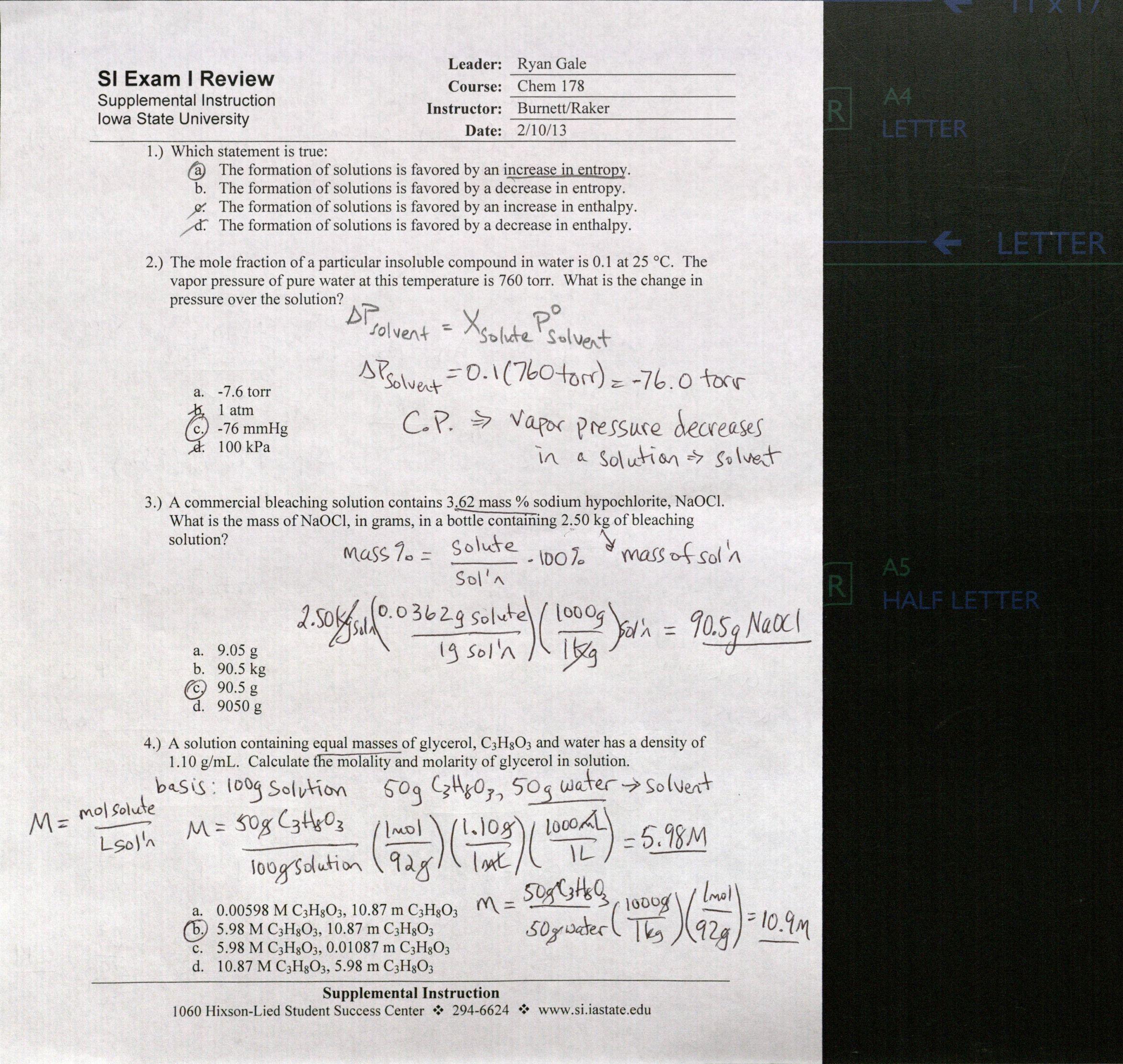 Chem 178 C Supplemental Instruction