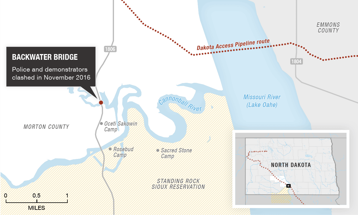 Map of Dakota Access Pipeline and Standing Rock Sioux Reservation