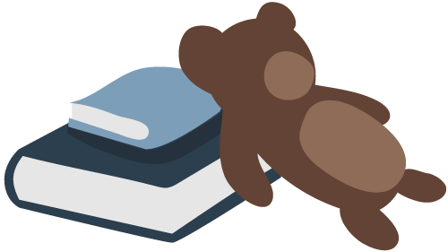 Illustration of books and toy bear