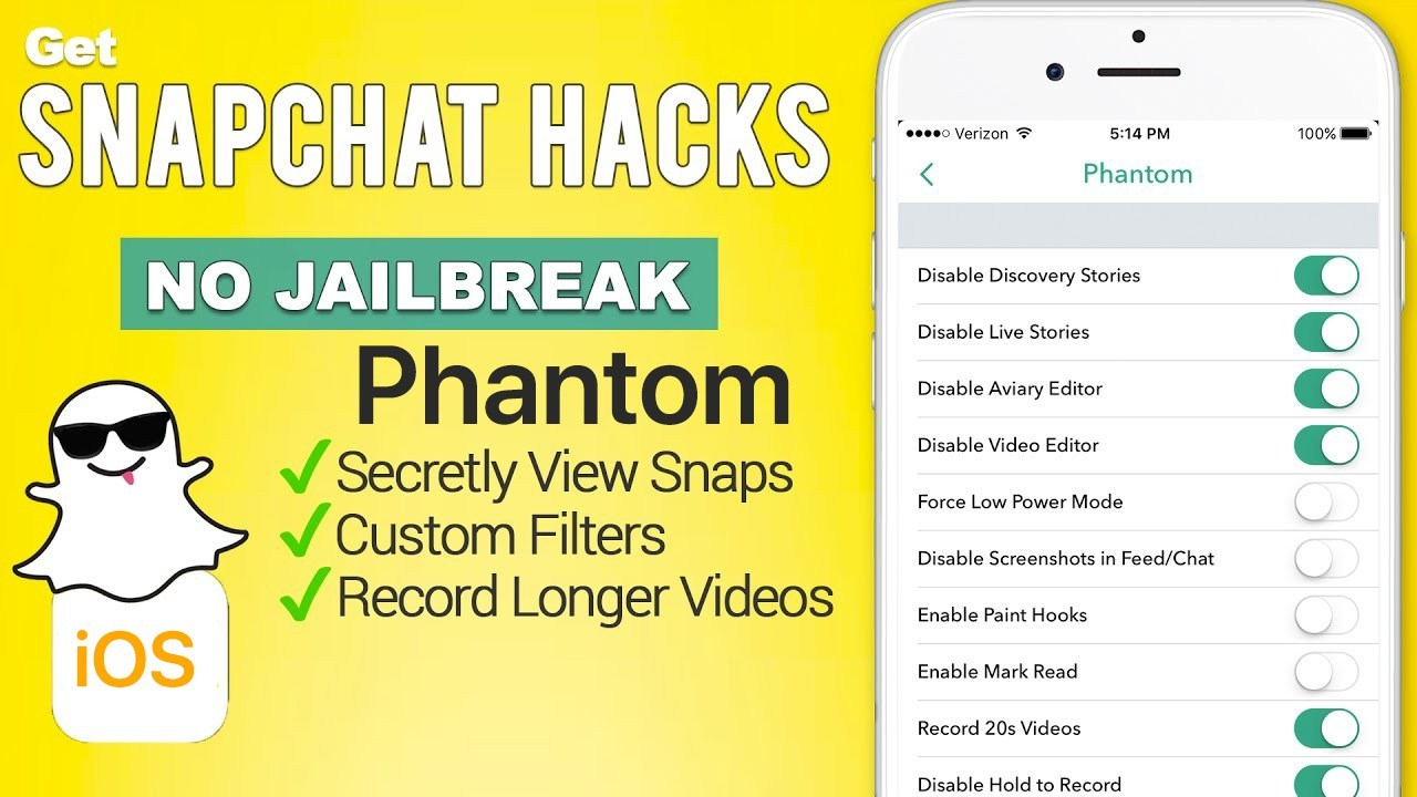 Phantom for Snapchat – Best Cydia jailbreak / AppStore alternative ...