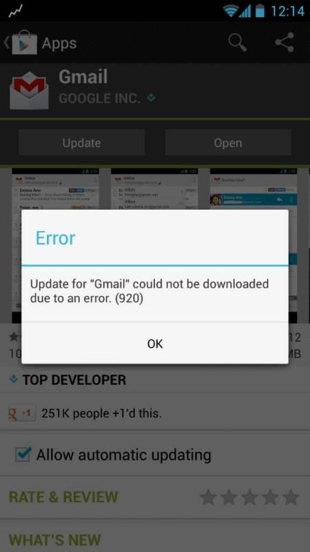 Android Fix for error 920 or App could not be downloaded due to an error 920