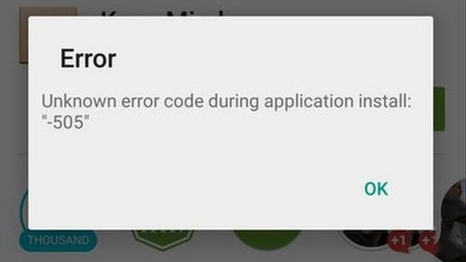 Error 505 - Unknown Error code during Application install: