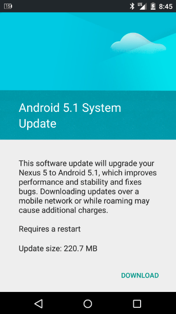 Android 5.1 Lollipop OTA