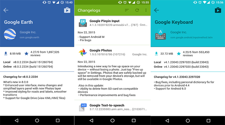 Changelogs - find changes in Android apps