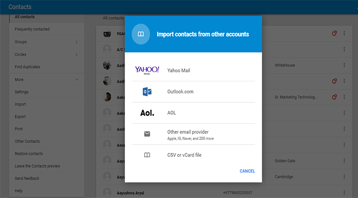 google contacts 2 - move contacts from iPhone to Android