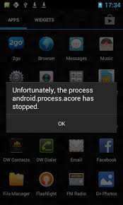 Unfortunately, the process android process acore has stopped