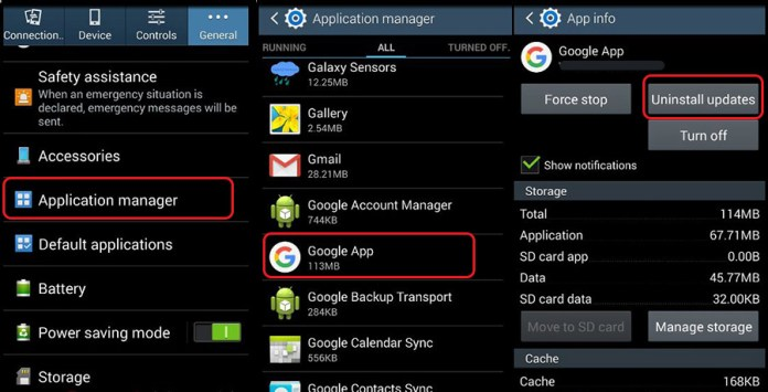 Uninstall Google App Updates
