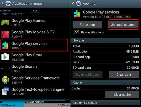 Uninstall Google Play Service update