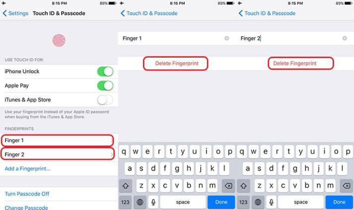 Delete fingerprint in iPhone 7