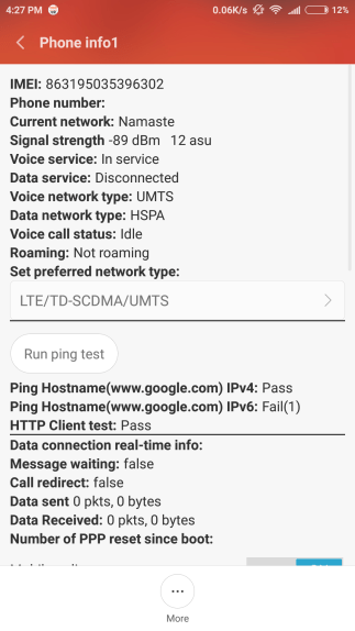 hardware test showing Phone Info
