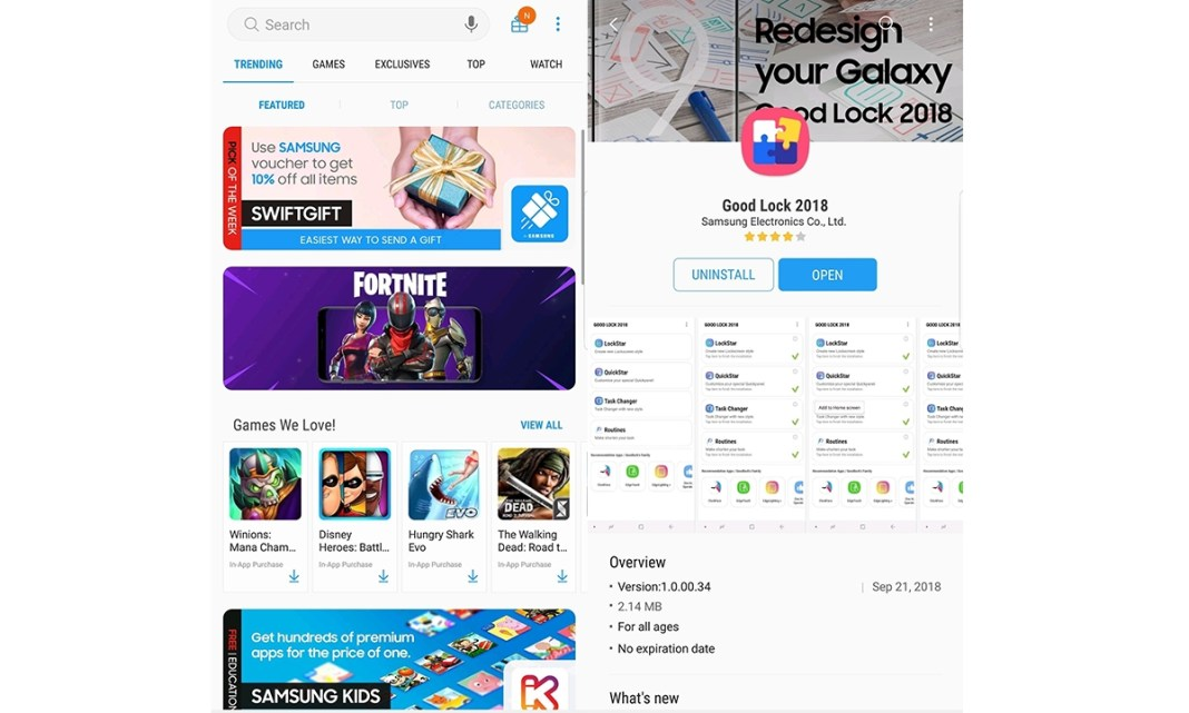 Make an app work on split screen in Galaxy Note 9