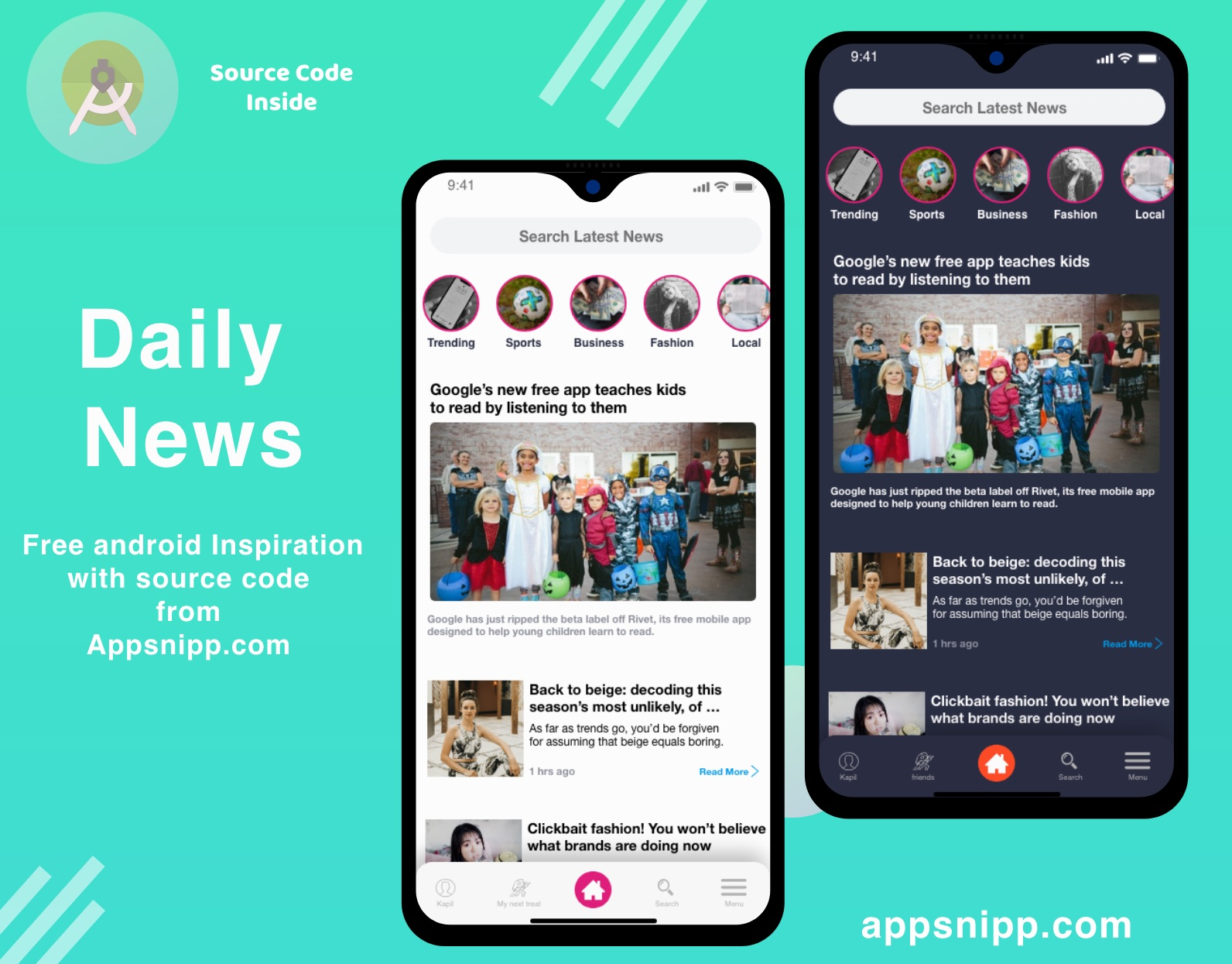 free news app ui kit for android with dark mode - App Snipp