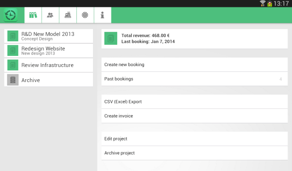 Timesheet android app