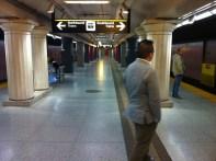 G waits at Museum Station, Toronto