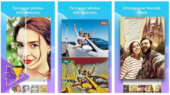 photo cartoon and selfie camera