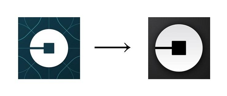 Старая и новая иконка приложения Uber для App Store