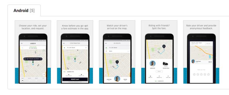 Скриншоты приложения Uber из Google Play