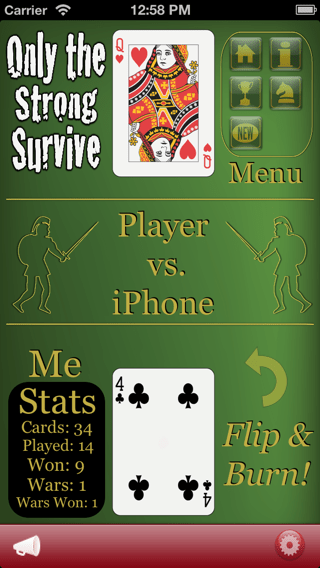War the Ultimate Multiplayer Experience card game app iPhone 5 screenshot showing Queen and Four.