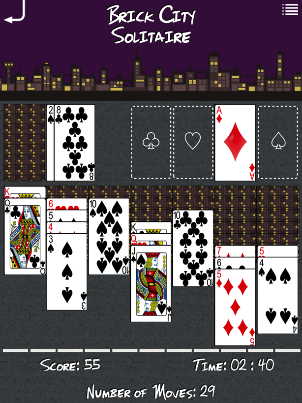 Screenshot of in-progress game of Brick City Solitaire taken from an iPad.