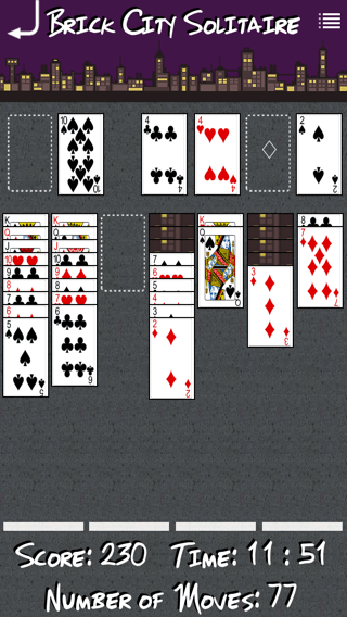 Brick City Solitaire iOS App screenshot of in progress game.