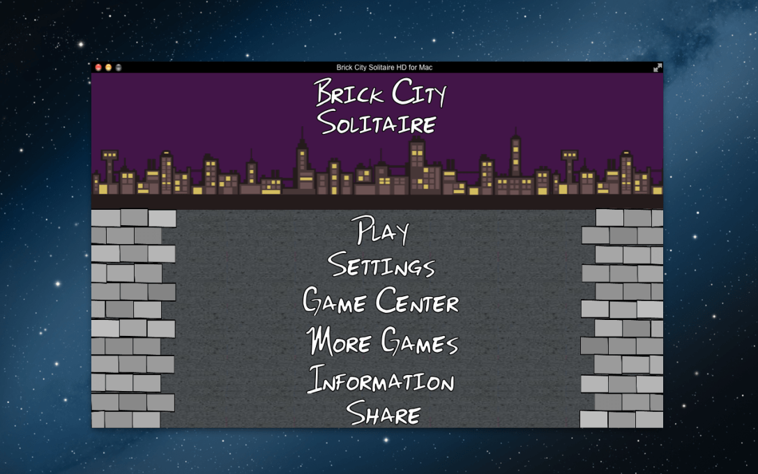 "Screenshot of the main menu of the ""Brick City Solitaire"" Mac app app."