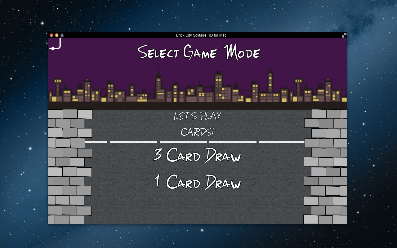 "Screenshot of the ""Select a Game Mode"" menu in the Brick City Solitaire Mac app."