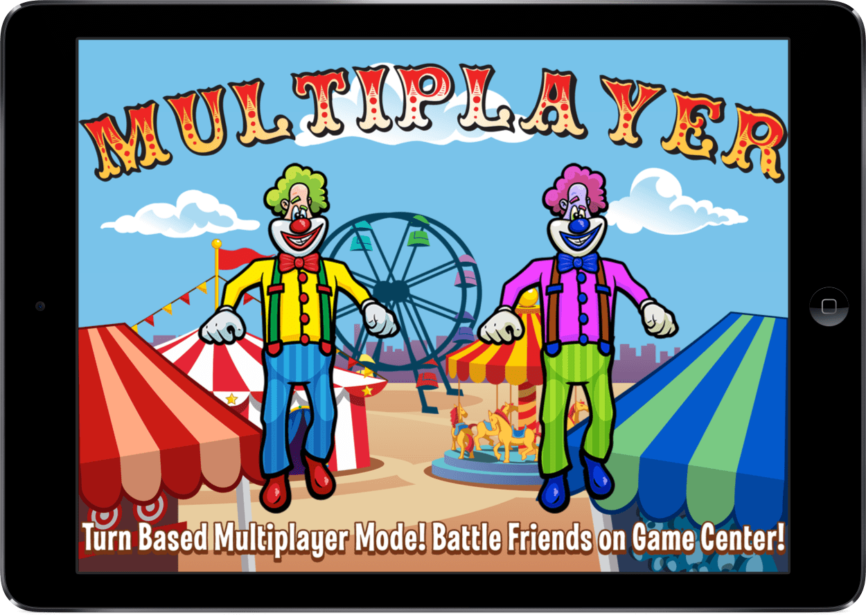 "Laugh Clown Professional Balloon Dodger iPad screenshot annotated: ""Turn-based multiplayer mode! Battle friends on Game Center!"""
