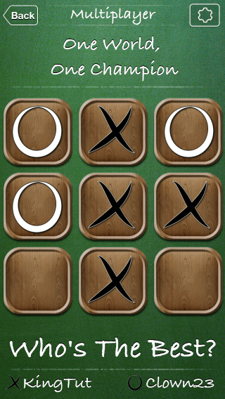 Tic Tac Toe World Championship iOS app screenshot of in progress game..
