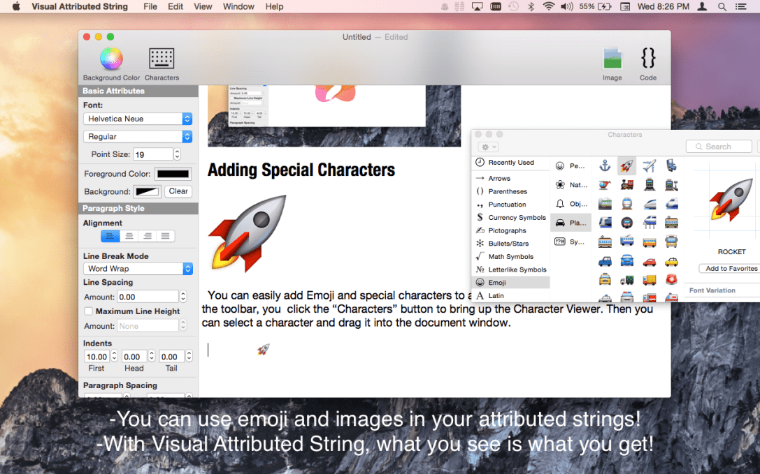 Visual Attributed String Mac App screenshot showing Emoji characters in document.