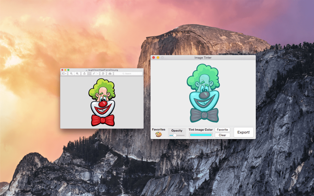 Image Tinter Mac App Screenshot of Laugh Clown being tinted aqua.