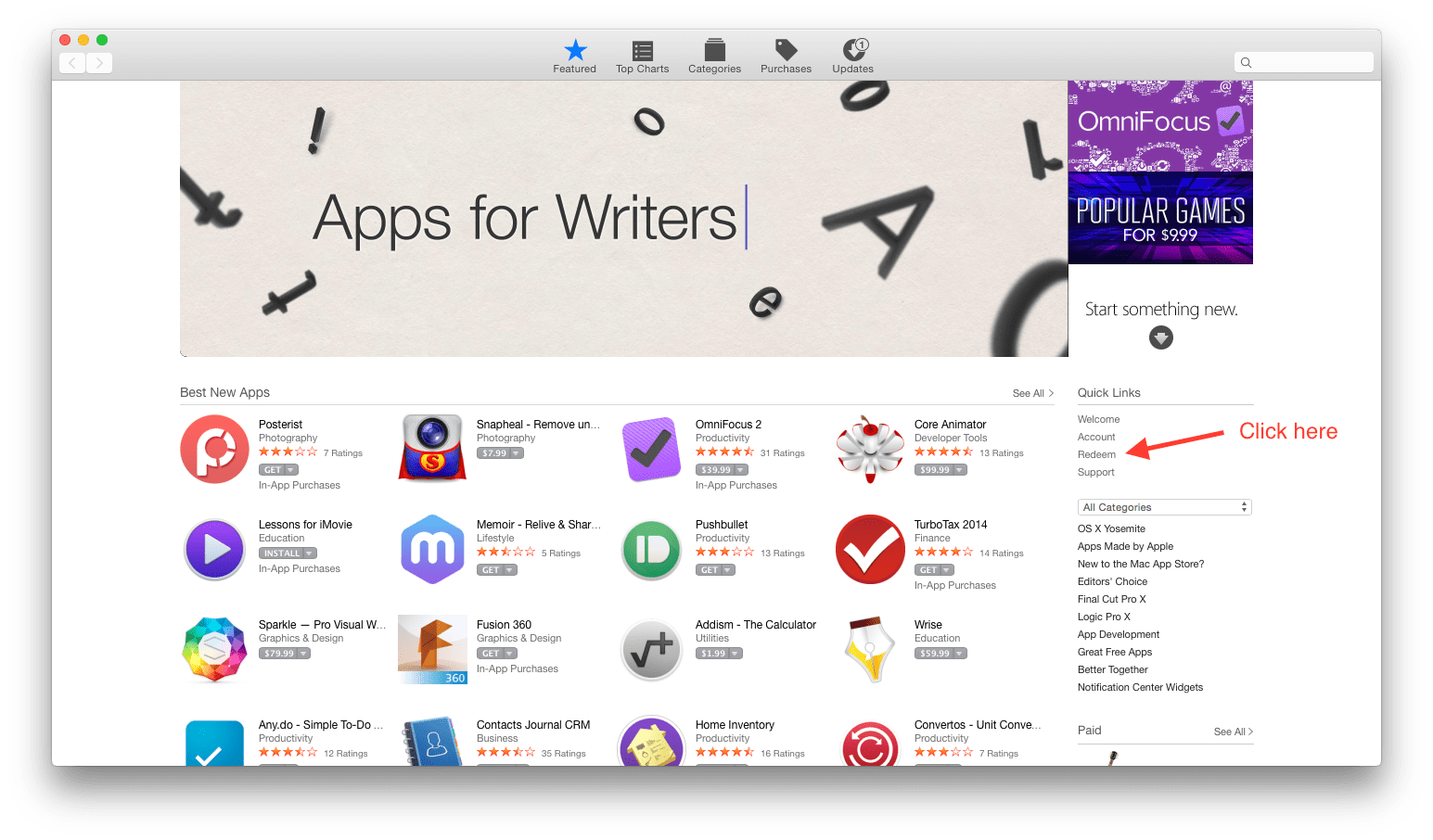 Screenshot of the Mac App Store  window, annotated  with an arrow pointing to the 'redeem link'.