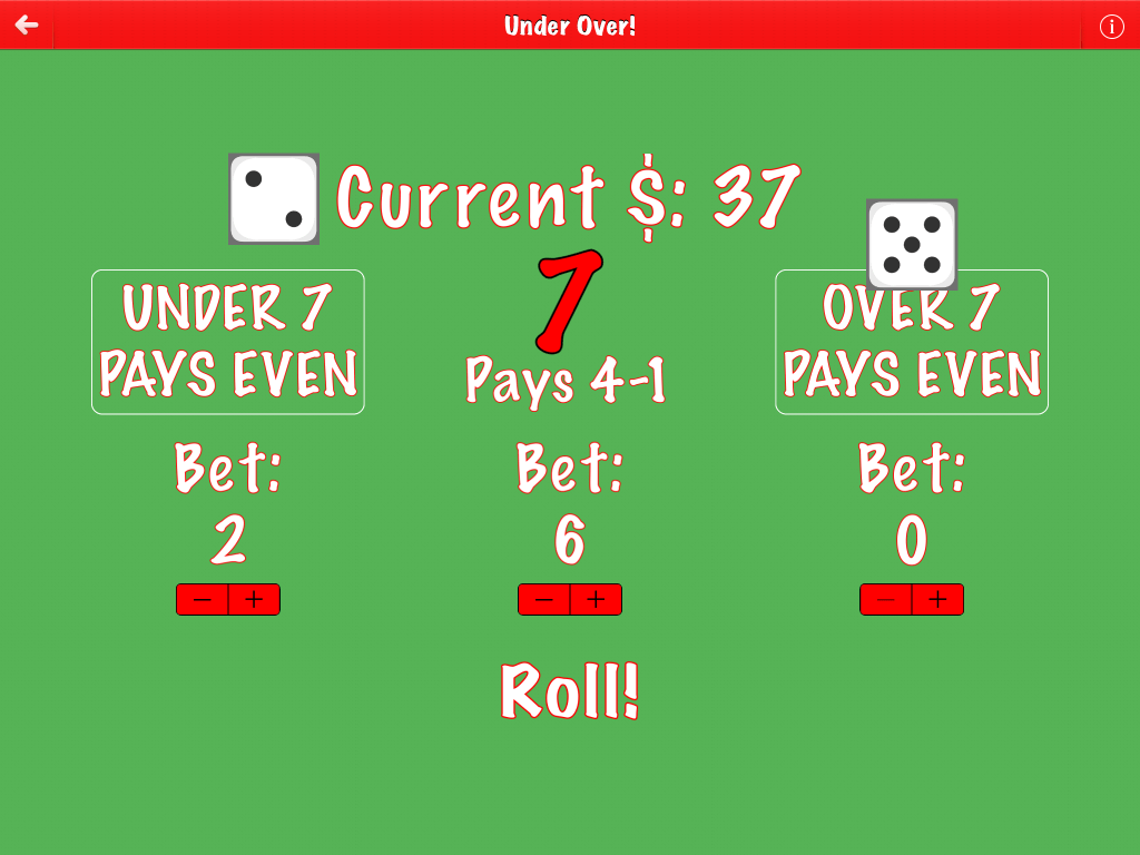 Under Over Free screenshot of game with exactly seven bet amount on iPad.