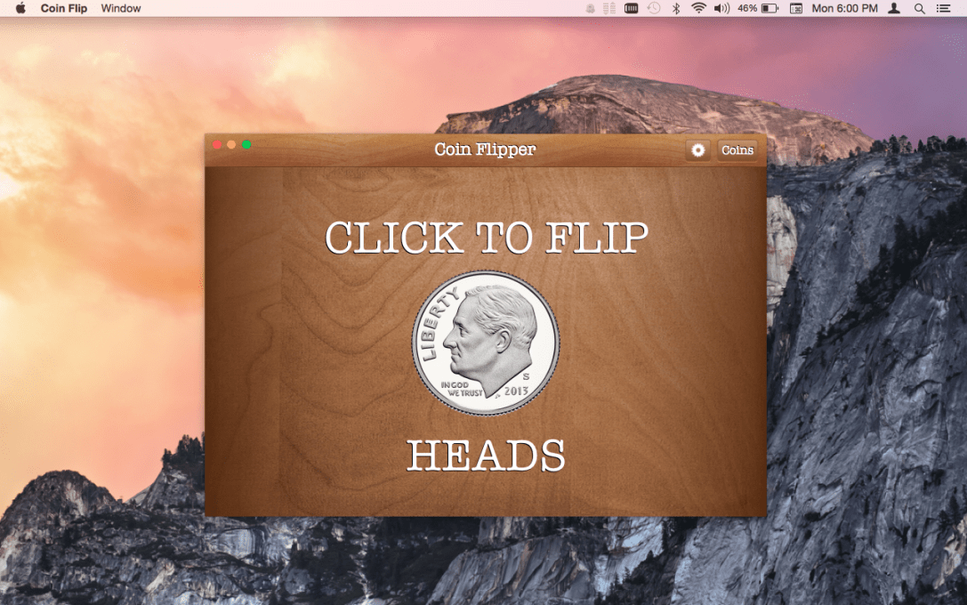 Coin Flip Mac App screenshot of dime on heads.